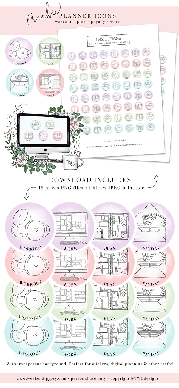Colored Icons Freebie download planner stickers scrapbooking graphics calendar plans workout work plan payday Pinterest.jpg