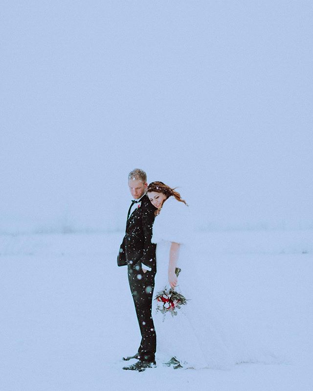 A little over a month ago now, we had this crazy idea to go out in the blizzard after our ceremony. 💗  #itjustkeptsnowing #snowywedding #winterwedding #winter #snow #wedding #weddingphotography