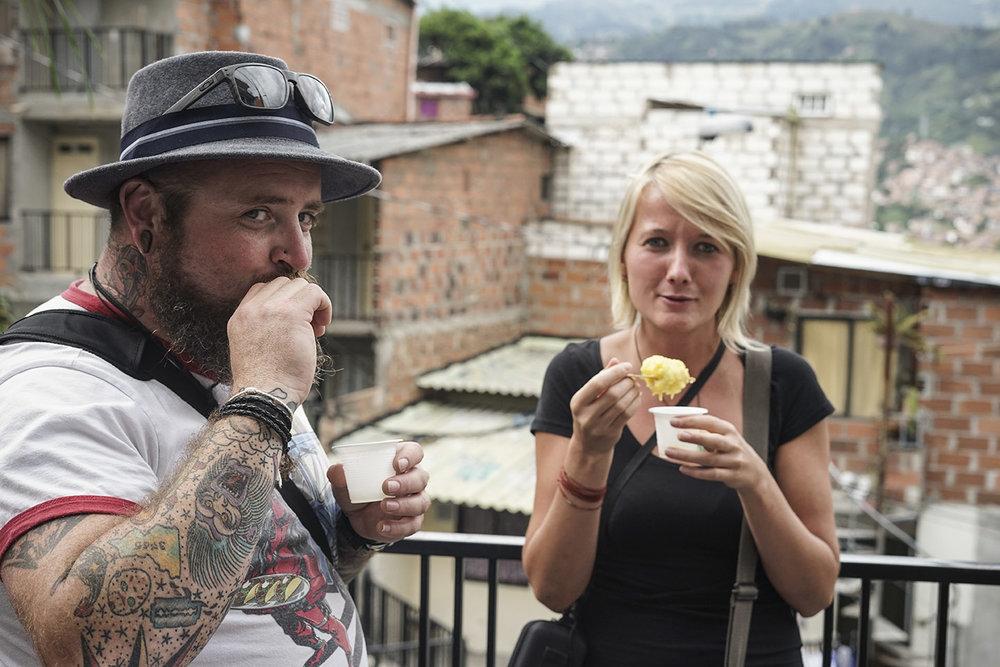 Rhys and Natalie enjoying Mango dessert