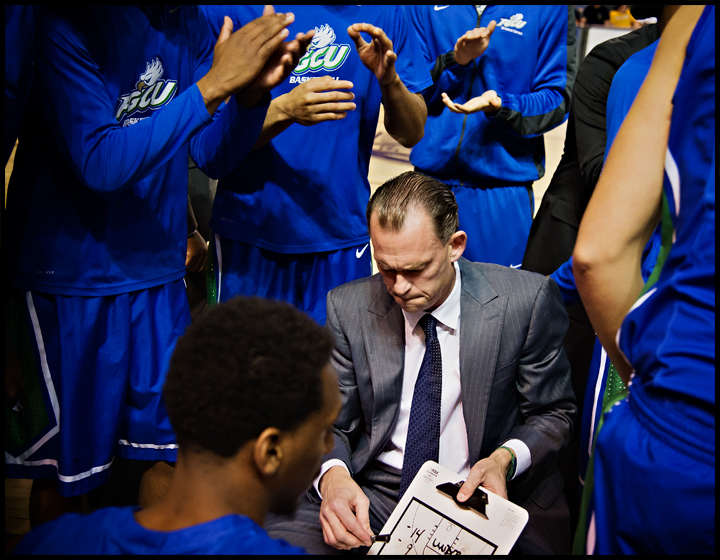Florida Gulf Coast University coach Joe Dooley prepares his team for the second half of their game against Lipscomb University in Nashville, TN on Thursday, February 27, 2014. FGCU would go on to loose the game 93-71. Photos by Brian Powers
