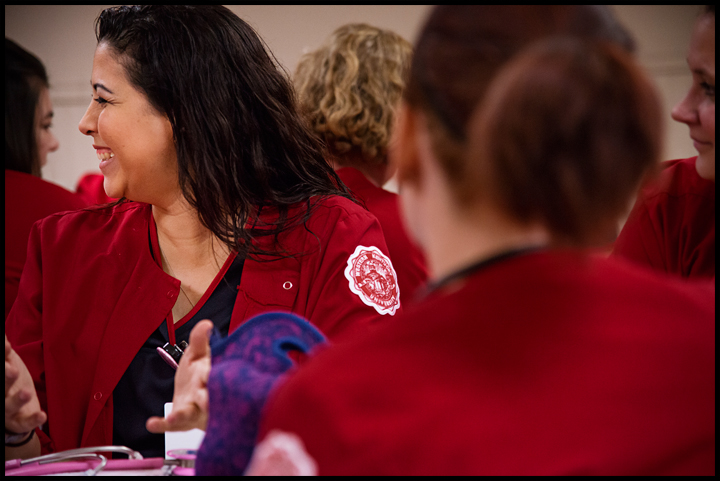 With her children getting older, Barbara Morrow, 32 of Bowling Green is finally able to get her nursing degree at WKU. Morrow and her classmates meet in the cafeteria before their clinicals on Tuesday, February 18, 2014 at the Medical Center in Bowling Green. Photos by Brian Powers