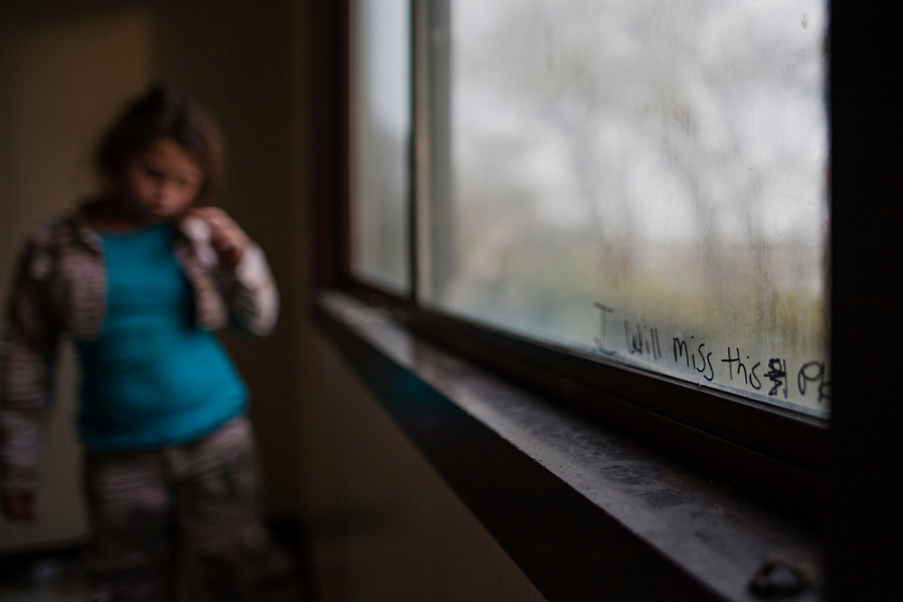 "The words, ""I will miss this place,"" are scrolled across Salena Carvell's room window of her Jericho Circle home. Carvell didn't want to leave the only home she knew."