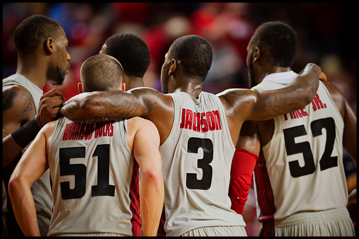 From left, WKU's George Fant, Chris Harrison-Docks, Trency Jackson, and T.J. Price congratulate each other after coming from behind to beat Murray State 71-64 at E.A. Diddle Arena on Saturday, December 21, 2013. Photos by Brian Powers
