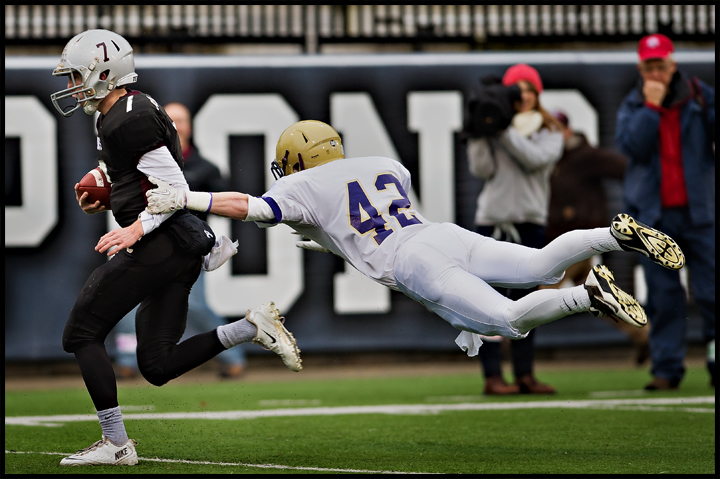 Bowling Green's Logan Paris tries to stop Pulaski County's Riley Hall before he scores during the KHSAA Gridiron 5A state championship at Western Kentucky University in Bowling Green on Sunday, December 8, 2013. Bowling Green would go on to win 49-14. Photo by Brian Powers