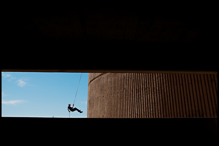 """""""I wanted to feel like spider man,"""" said Roanoke, VA freshman Johnnie Hockman after he rappelled down PS 1 at Western Kentucky University on Monday, October 21, 2013. The ROTC program starts students rappelling off of smaller ledges before the final rappel off the parking structure. Brian Powers/HERALD"""
