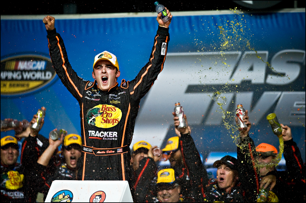 Austin Dillon, driver of the Bass Pro Shop Chevrolet celebrates with his crew after winning the NASCAR Camping World Truck Series at Chicagoland Speedway in Joliet, Ill on Friday, September 16, 2011. | Brian Powers~Sun-Times Media