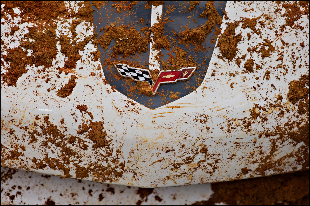 Mud covers the hood of the 2009 Z51 Corvette, the 1,500,000 Corvette made, on Tuesday, June 24, 2014. The Corvette was pulled out of the sinkhole that opened up in February at the National Corvette Museum in Bowling Green, KY.