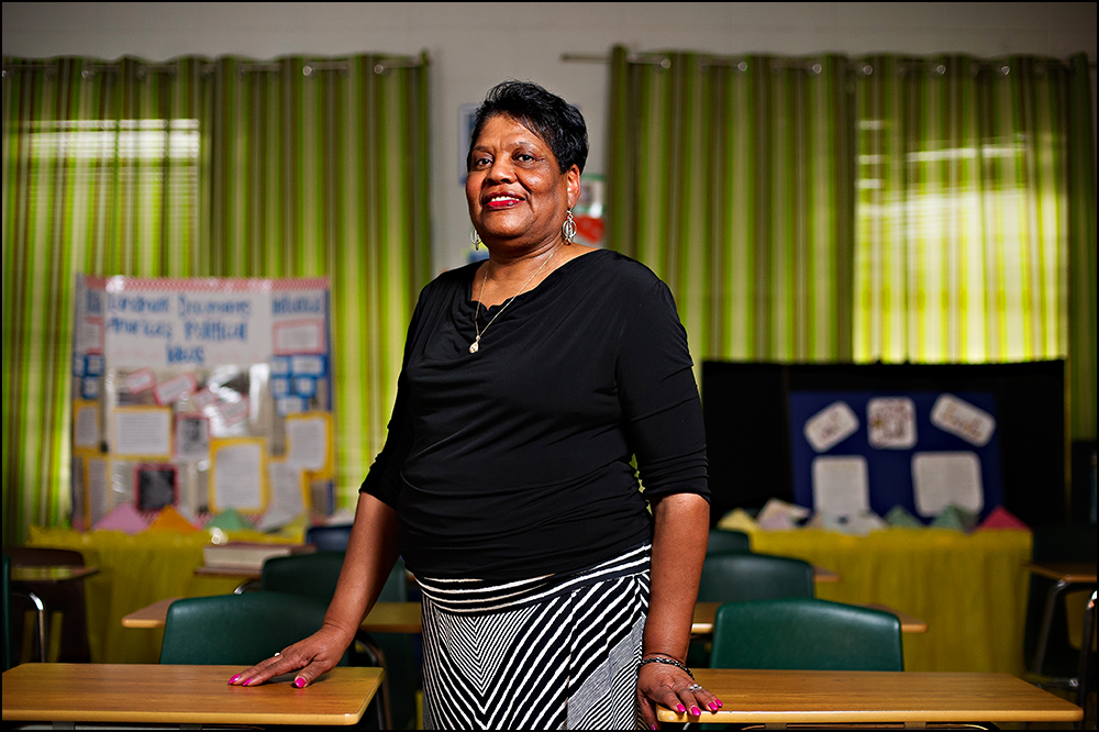 Entering her 50th year of teaching, Bettye Williams poses for a portrait at H.W. Byers High School in Holly Springs, Miss. on Monday, August 11, 2014. It's the students who keep Williams coming back to the classroom and says that, common core or not, at the end of the day helping students learn is what is most important. Photos by Brian Powers
