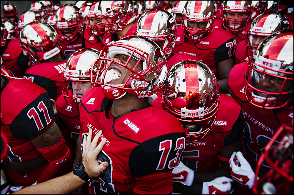 Aug 29, 2014; Bowling Green, KY, USA; Western Kentucky Hilltoppers Antwane Grant gets ready to take the field with the rest of the Hilltoppers team at Houchens Industries-L.T. Smith Stadium. Western Kentucky would go on to defeat the Bowling Green Falcons 59-31. Mandatory Credit: Brian Powers-USA TODAY Sports