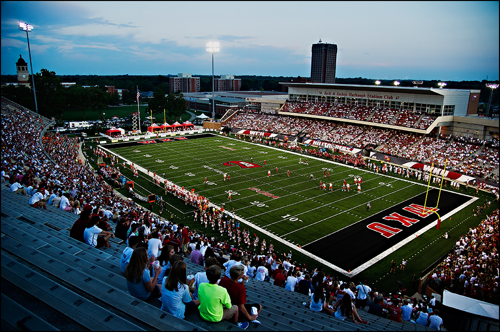 Aug 29, 2014; Bowling Green, KY, USA; The Western Kentucky Hilltoppers take on the Bowling Green Falcons at Houchens Industries-L.T. Smith Stadium. Mandatory Credit: Brian Powers-USA TODAY Sports