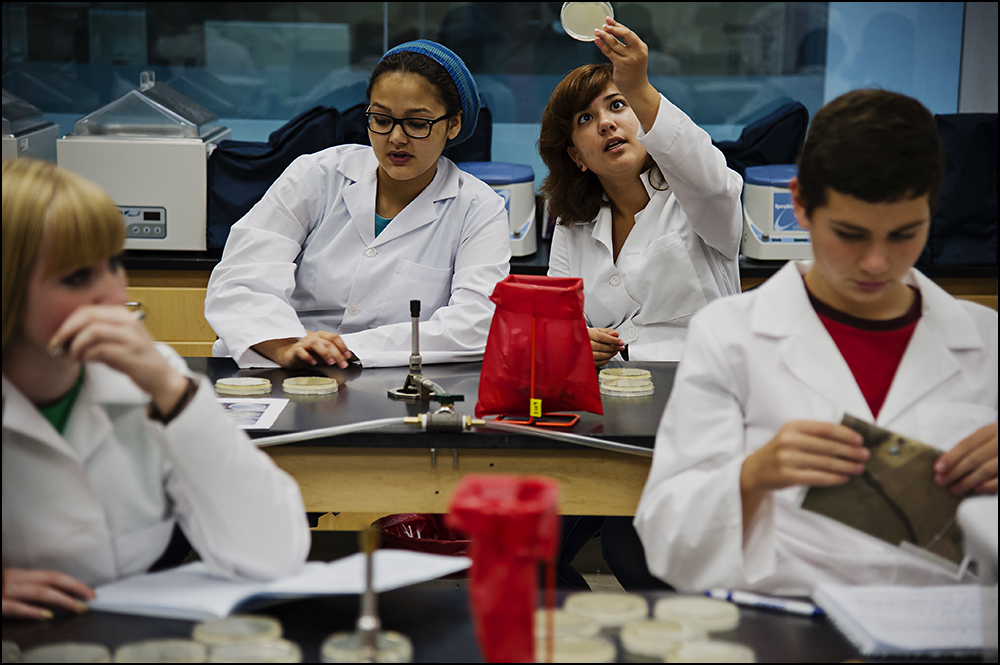Gatton Academy juniors Whitney Heard, center left, from Bowling Green, Ky., and Esther Huggins, center right, from Elizabethtown, Ky., examine a petri dish while Frankie Baldwin, far left, a Gatton junior from Owensboro, Ky., and Jeremiah Wayne, far right, a Gatton junior from Henderson County, Ky., look over their notes during class at Western Kentucky University on Tuesday, September 9, 2014. The class, Genome Discovery and Explorations, puts students at Gatton in the same classroom as students at WKU. By Brian Powers, Special to the CJ, 09/09/2014