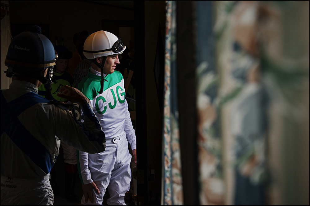 Chris Landeros, 26, center, from California, heads out to the track for his fourth and final race of the day at Kentucky Downs race track in Franklin, Ky. on Wednesday, September 10, 2014. By Brian Powers, Special to the CJ, 09/08/2014