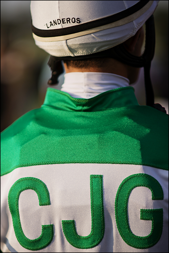 Chris Landeros, 26, from California, waits to ride Three Way Ticket for his fourth race of the day at Kentucky Downs race track in Franklin, Ky. on Wednesday, September 10, 2014. By Brian Powers, Special to the CJ, 09/08/2014