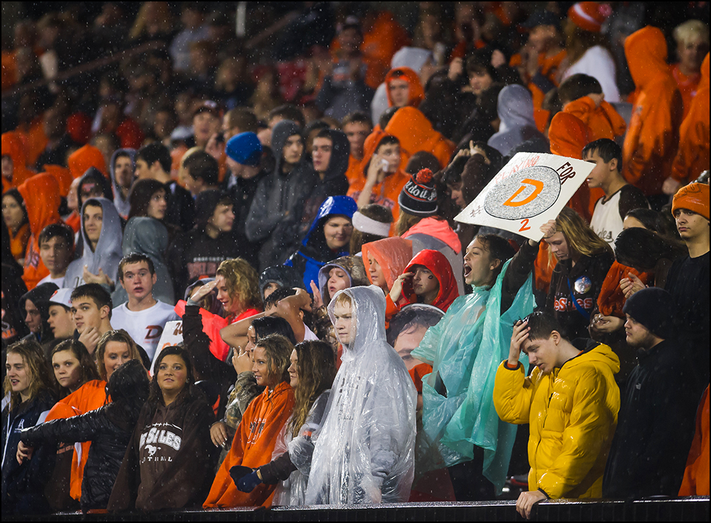 Desales fans cheer from the stands as the Colts beat Newport Central Catholic 26-0 during the KHSAA Commonwealth Gridiron Bowl at Western Kentucky University on Friday, December 5, 2014. Photo by Brian Powers
