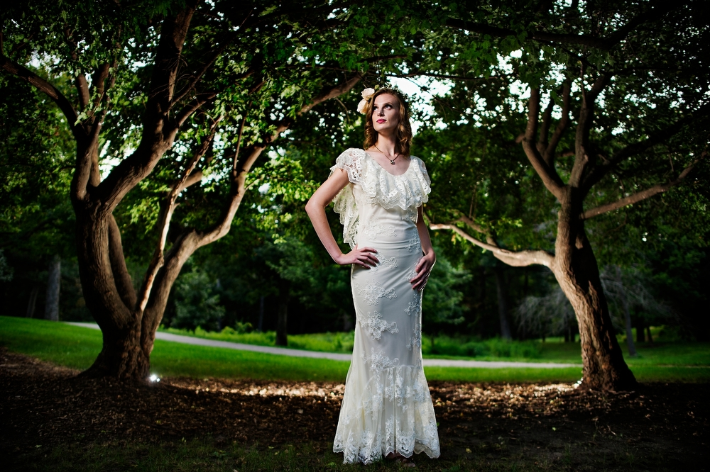 Wedding Fashion shoot in The Des Moines Art Center Rose Garden with Abby Wolner, 25 from Des Moines wearing a Dame & Maiden dress by designer Sarah Beals, 33 from Des Moines  on Tuesday, August 25, 2015.