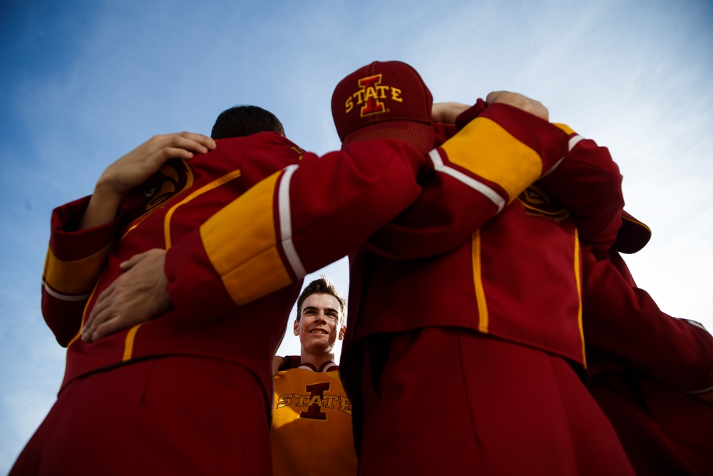 Iowa States Tenor Line, including Jeremy Rutledge, center, huddle before ISU takes on Oklahoma State during their game at Jack Trice Stadium on Saturday, November 14, 2015 in Ames.