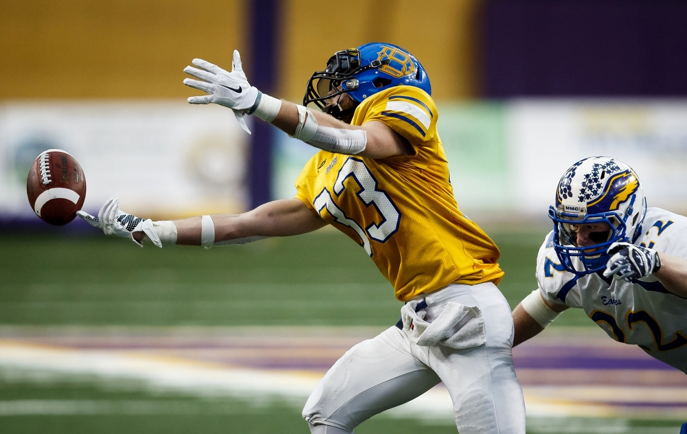 Don Bosco's Joel Sweeny can't catch a pass during their state championship game against Marcus-Meriden- Cleghorn at the UNI-Dome in Cedar Falls on Thursday, November 19, 2015 in Cedar Falls.