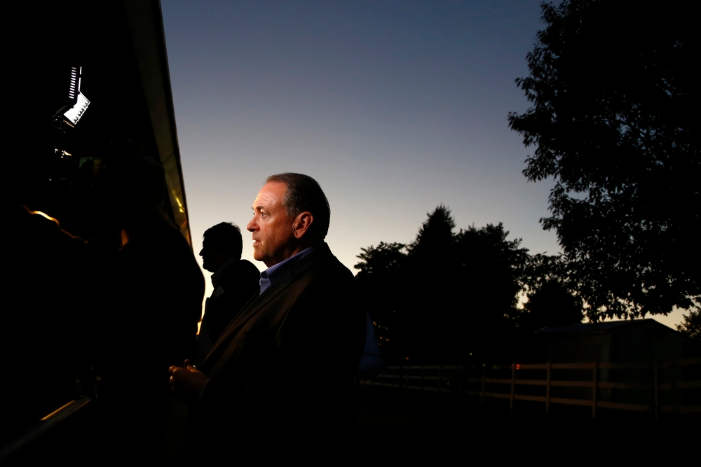 Republican presidential candidate Mike Huckabee speaks during the Faith and Freedom Coalition Dinner at the Iowa State Fairgrounds in Des Moines on Saturday, September 19, 2015.