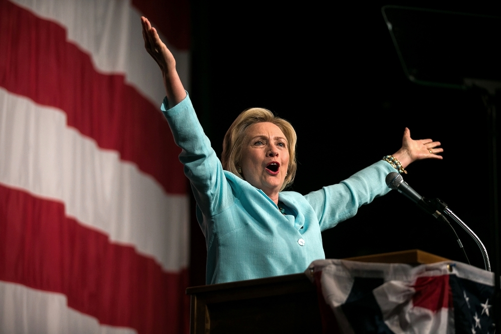 Hillary Clinton speaks during the Iowa Democratic Wing Ding at the Surf Ballroom in Clear Lake, IA on Friday, August 14, 2015.