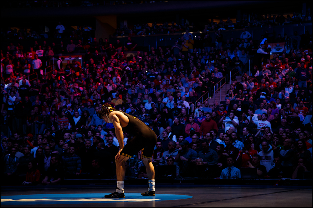 Iowa's Thomas Gilman stands on the matt before before his  NCAA championship bout on Saturday, March 19, 2016 in New York City, New York.