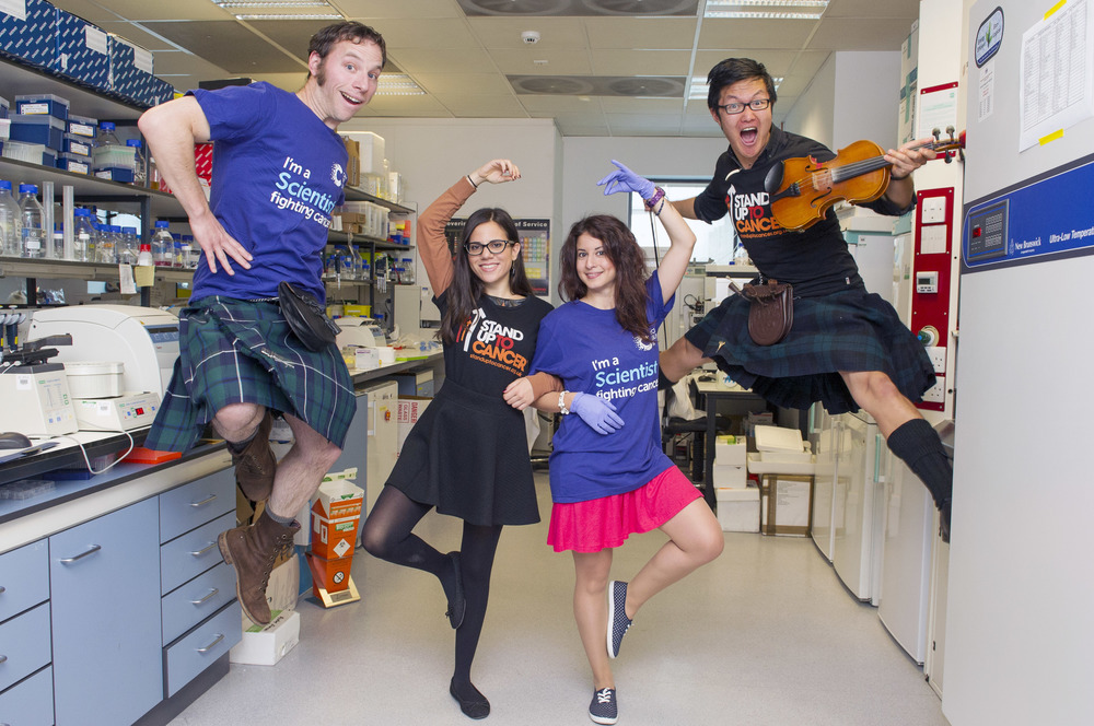 Average day in the lab developing new dances....(Photo Credit:  Lesley Martin for Cancer Research UK's Stand up to Cancer campaign
