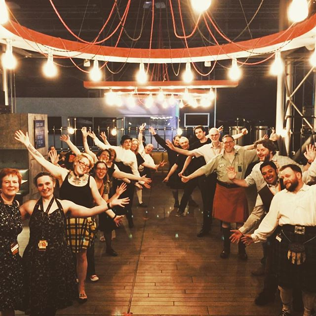 Look at this wonderful #satellite6 lot who made it to the Orcadian Strip the Willow!! 🤘Brilliant dancing at the #sciencefiction #ScienceCeilidh last night @satelliteconventions at @weareclydebuilt , thanks again for having us! 🎶🎻