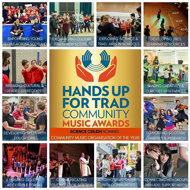 🎶🎉We're DELIGHTED to have been nominated for Community Music Organisation of the Year with Hands Up for Trad!🎉 🎶 🙏We have the absolute privilege of exploring science, wellbeing and traditional arts with so many young people, community groups, musicians & dancers, scientists and educators all across Scotland and this nomination is a true testament to them all! 👇Do consider giving us a vote, deadline is this Friday!!! Read our interview here  bit.ly/scienceceilidh_trad or go direct to vote page!  bit.ly/communitymusicawards  Clickable link is in profile too :) #scotsmusic #handsupfortrad #scottish #scicomm #scottishsocialenterprise