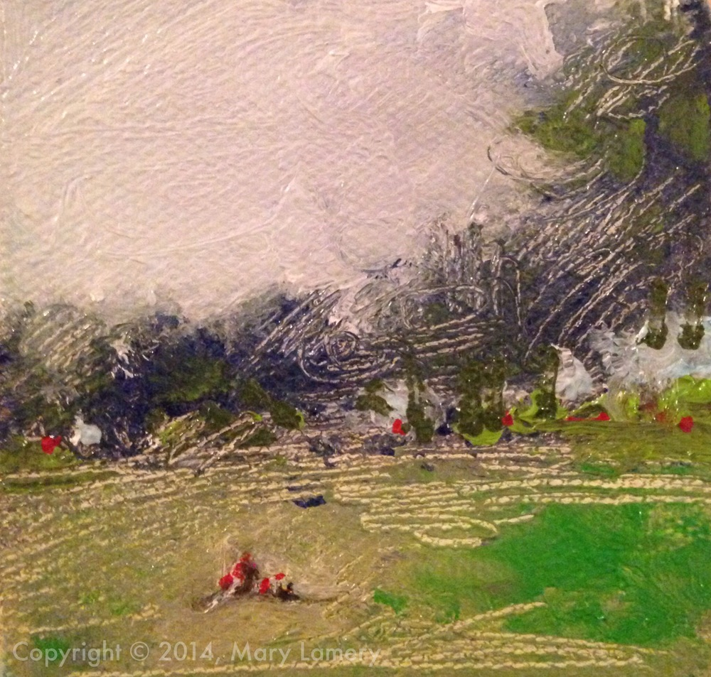 """Girl with her dog, Cal Anderson Park. 3""""x3"""". Oil on Canvas. 2014.  Day 1. September 1, 2014."""