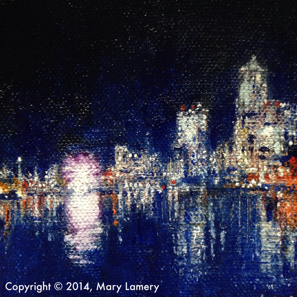 """On the Waterfront. 4""""x4"""". Oil on Canvas. 2014.  Day 100. December 23, 2014."""