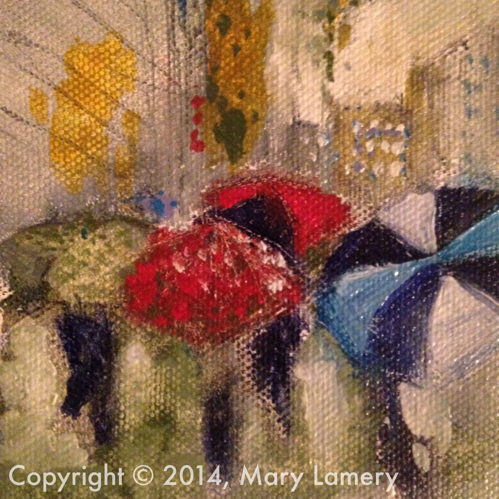 """Umbrellas of Seattle. 4""""x4"""". Oil on Canvas. 2014.  Day 41. October 23, 2014   This painting is an example of how I had the composition plantedin my mind hours before I started painting. One morning on my way to work, I looked up at an overpass to see the silhouettes of people walking on the sidewalkin the rain with their umbrellas open over their heads. At that point, I knew what my subject for the day would be. As a Seattleite, I had the perfect painting in mind.I captured this compositionin downtown Seattle later that dayof pedestrianshomebound after a day's work. Thispainting was effortless to complete. A rarity."""