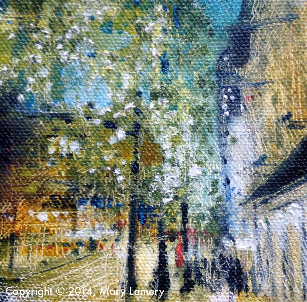 """After...  Lights. 4""""x4"""". Oil on Canvas. 2014.  Day 58. November 7, 2014.     5 pm. Downtown Seattle."""