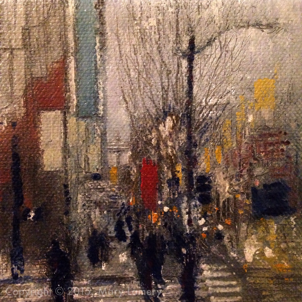 "Second Avenue and University Street, downtown Seattle.  March 24, 2015. 5 pm Pacific. Day 17 of 30, Quarter 1, ""The Four Seasons"" 2015.  4""x4"", Oil on Canvas."