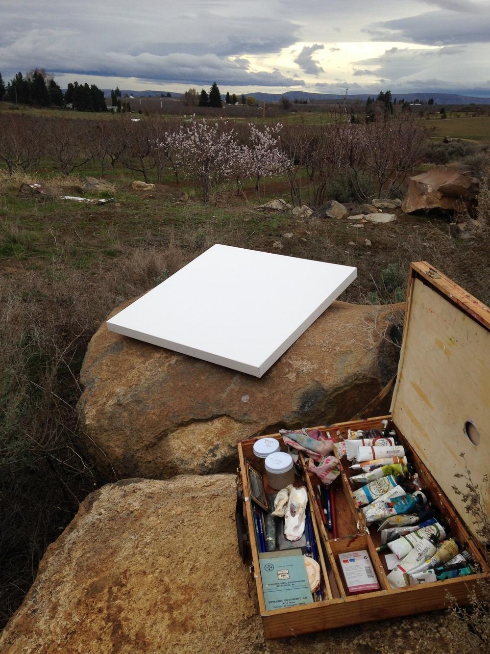 March 13, 2014. 8:30 am. My painting studio--à la les Flintstones.
