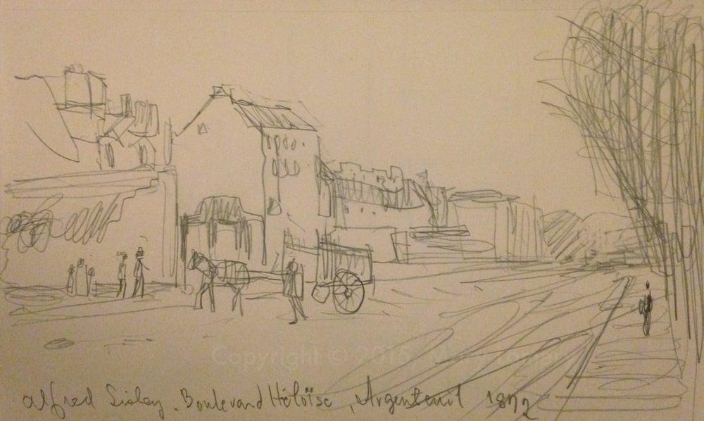 Pencil Sketch of Alfred Sisley's, Boulevard Heloise, Argenteuil. 1872.