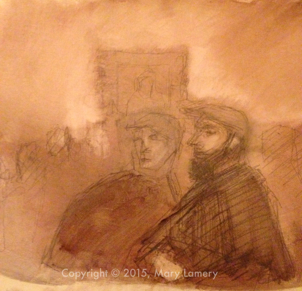 """I saw a gentleman (on the right)in the Impressionist galleries at SAM that reminded me of a French Impressionist painter.  He reminded  me in real life of the Manet painting above. I painted this quick oil sketch from drawings I made. Oil on canvas paper. 8.5x11"""". ML."""