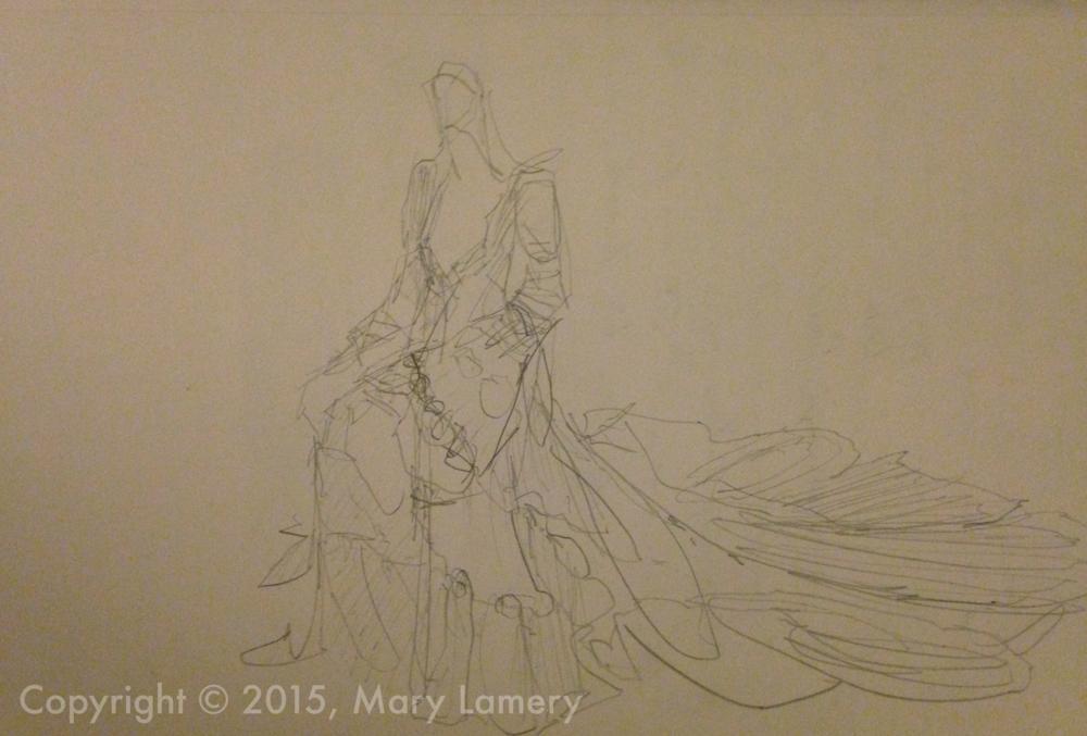 Pencil Sketch.Birgitte Bjerke.  Wedding dress.