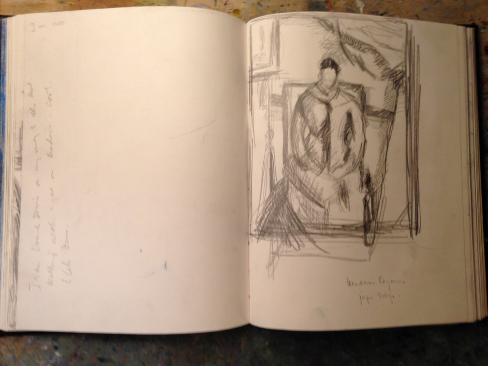 Journal. Sketch of  Cézanne  painting of Madame  Cézanne  in red dress. Metropolitan Museum of Art, New York City.