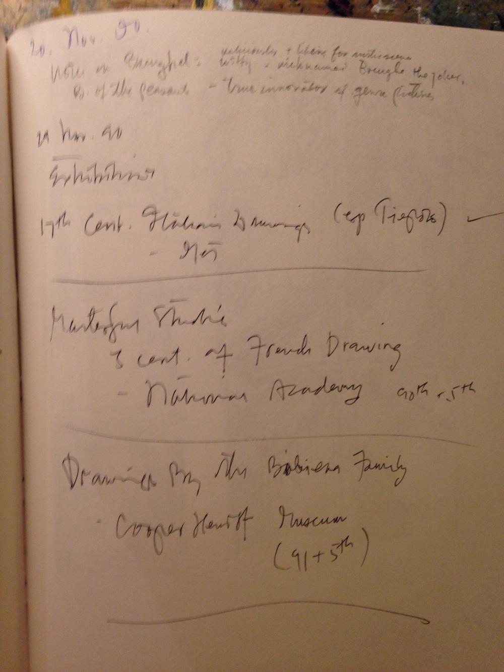 Exhibits I went to see, November 1990. New York City.