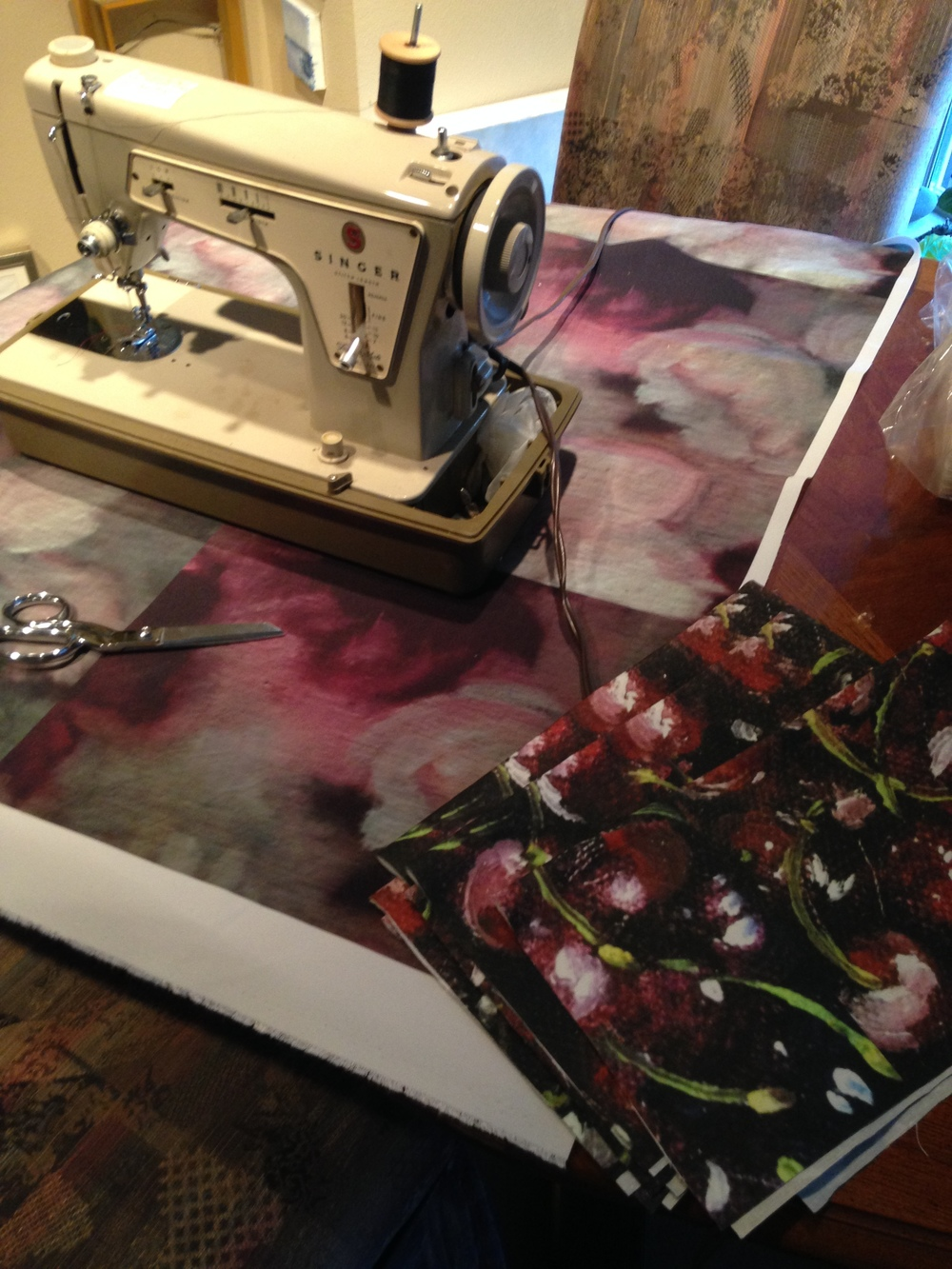 """I will make kitchen towels using my Grandmother Edythe's Singer sewing machine of fabric (cotton/linen) made from my """"cherries"""" painting."""