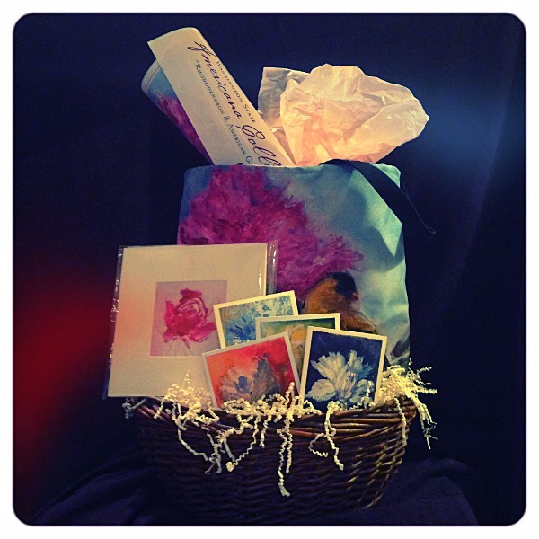 Gift basket featuring my artwork:artisan tote, signed matted print, collection of four artisan cards, commemorative poster.