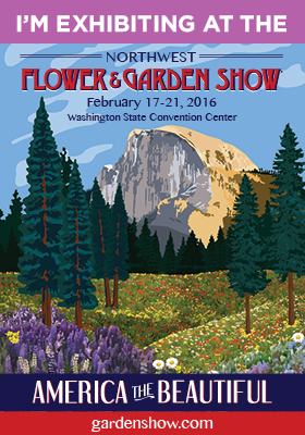 """My booth (#206) will be located near the Display Gardens,where the region's top Garden Creators will create wondrous displays in vibrant color celebrating the show's theme,""""America The Beautiful."""" I hope those of you who are local to Seattle will stop by and say """"Hi!"""" Tickets range from $17/day to $31 for a 2-day pass.  Tickets"""