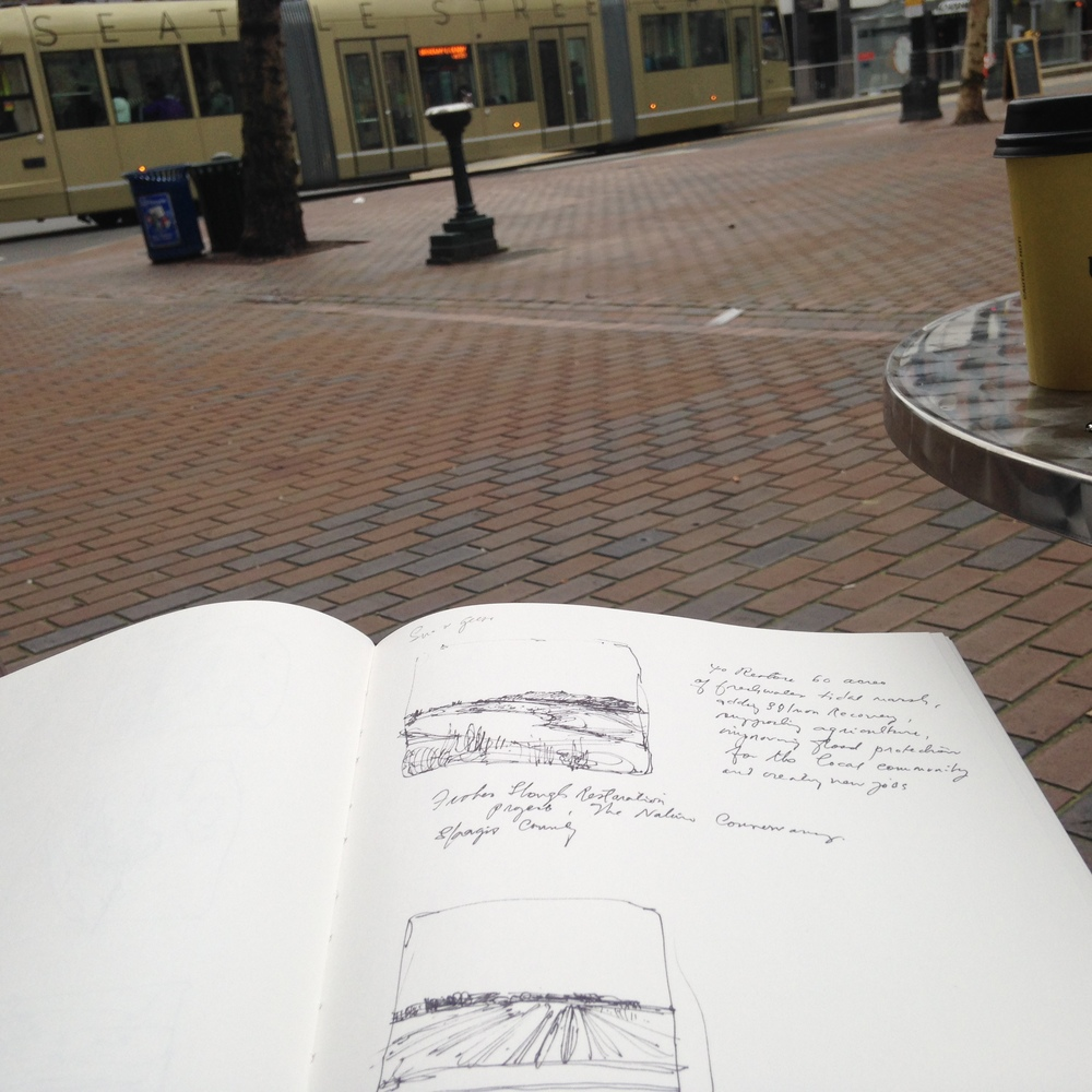 Sketching my notes in Pioneer Square, Seattle,after the trip. Sipping on a chai latte.