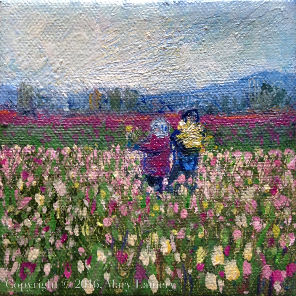 """Morning Harvest."" Oil on Canvas, 4x4,"" 2016.  The tulip is the world's peace flower, with special status in countries like The Netherlands and Turkey. It has a ""sacred significance"" in Istanbul."