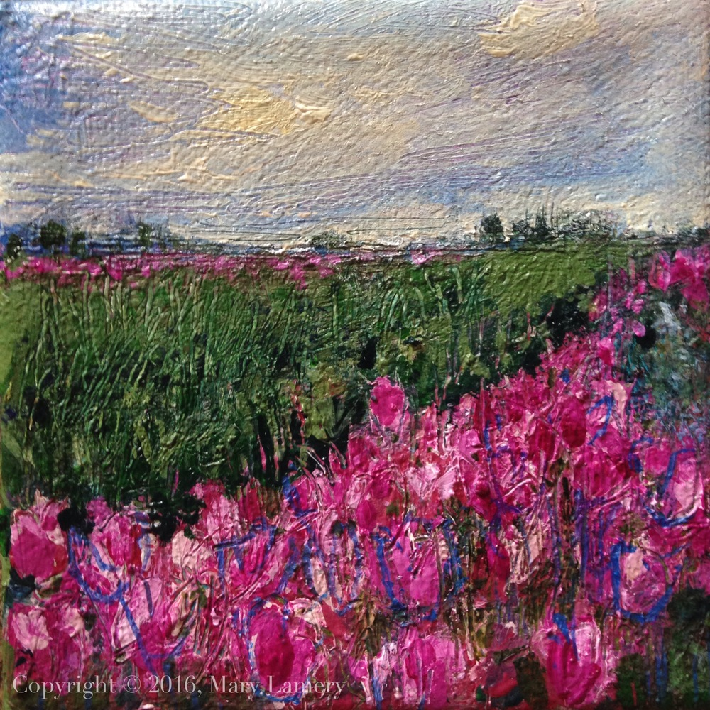 """Tulip Field, Skagit Valley."" Oil on Canvas, 4x4"" 2016.  The tulip is the world's peace flower, with special status in countries like The Netherlands and Turkey. It has a ""sacred significance"" in Istanbul."