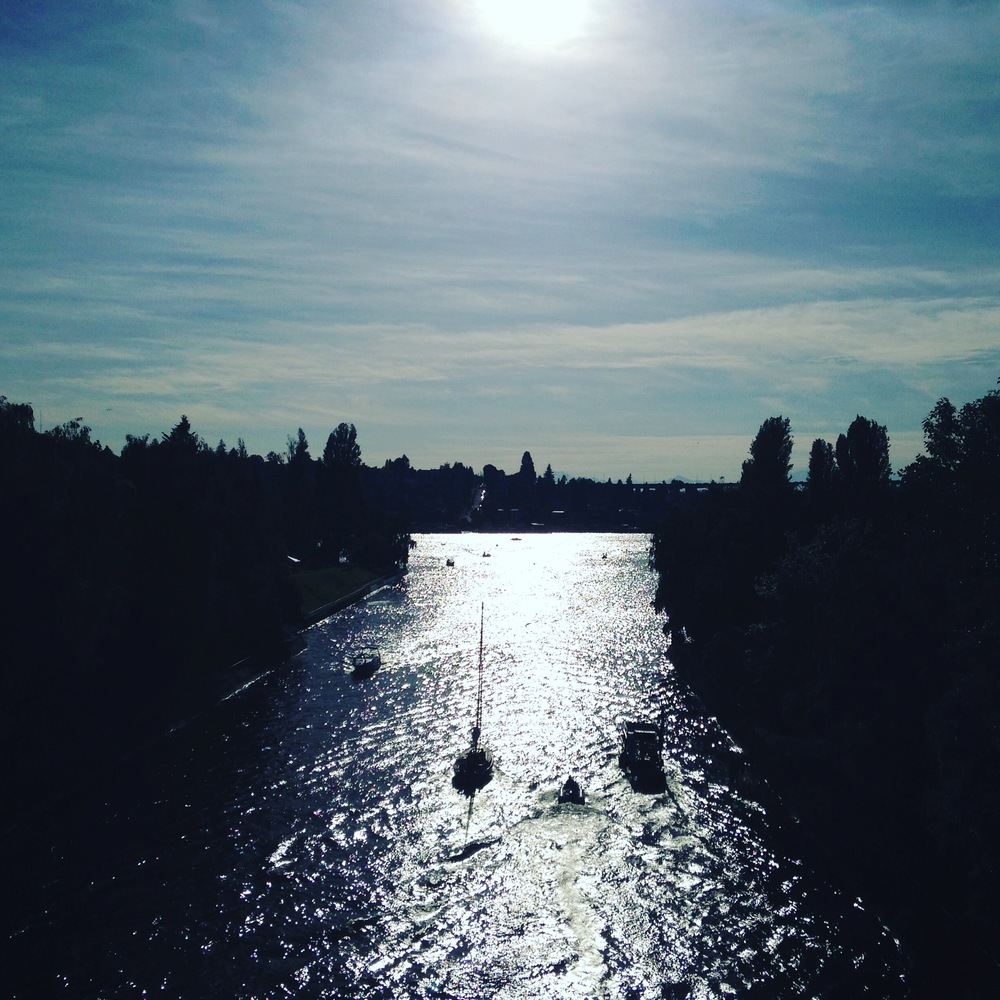 Opening Day, May 2016. After the festivities. A few boats heading west in the Montlake Cut.