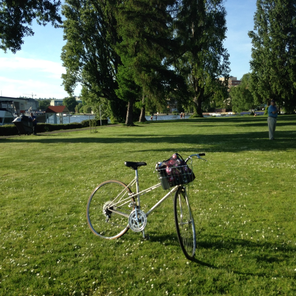 Parking my bike on the park lawn on Portage Bay. The Seattle Yacht Club is behind me.