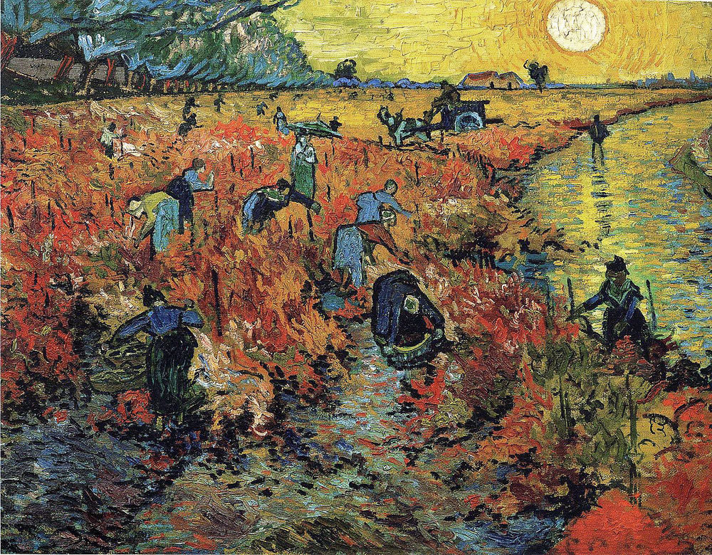 """This is the painting Vincent sold, """"Red Vineyards at Arles,""""painted two years before his death in 1888. The purchaser was an Impressionist painter from Belgium and friend of Van Gogh, Anna Boch. Anna painted with Vincent in Arles. The painting since was acquired by a Russian collector and now hangs in the Pushkin Museum of Fine Arts in Moscow."""