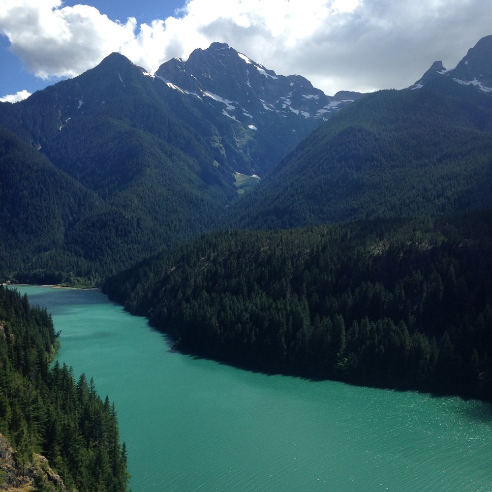 On the way to the Methow Valley.Diablo Lake, North Cascades. No filter was used in the making of this photo. The turquoise in the water is due to rock till that has been washed down by glacial activity. Stunning!