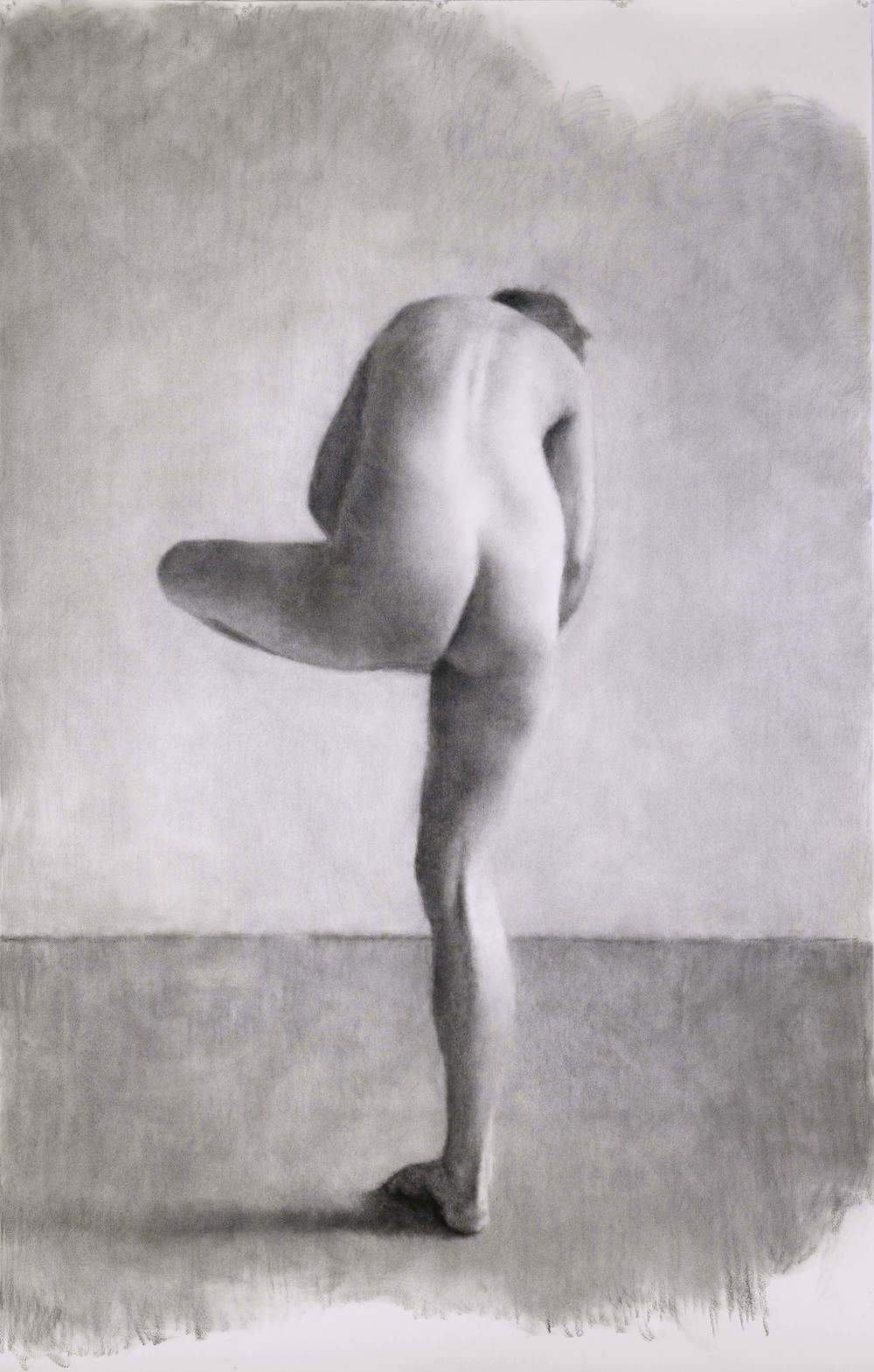 Drawing (Nude 106), 2010, willow charcoal on Fabriano paper, 2200 x 1400mm.