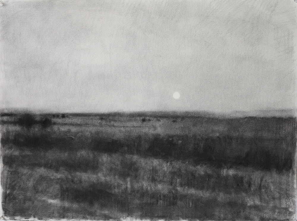 Monaro moonrise II, 2013, willow charcoal on arches paper, 580 x 750mm.